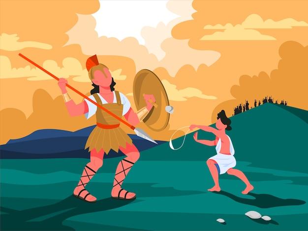 Biblijne narracje o dawidzie i goliacie. chrześcijański charakter biblijny. historia pisma świętego. dawid i goliat w środku bitwy. ilustracja.