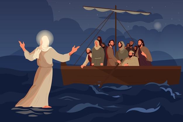 Biblijne opowieści o jezusie chodzącym po wodzie. uczniowie ujrzeli jezusa