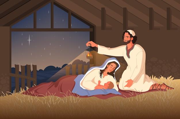 Biblijne opowieści o narodzinach jezusa. maryja, matka jezusa, józef i mały jezus w stodole. chrześcijański charakter biblijny. .