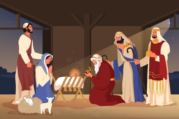 Biblijne opowieści o pokłonie trzech króli. trzej mędrcy znaleźli jezusa, podążając za gwiazdą i dając mu prezenty, złoto, kadzidło i mirrę. chrześcijański charakter biblijny.