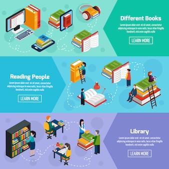 Biblioteczne izometryczne poziome banery