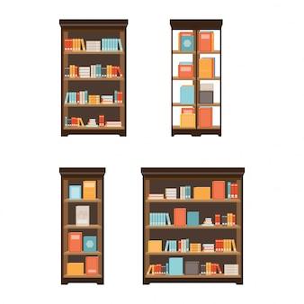 Biblioteka domowa z książkami.