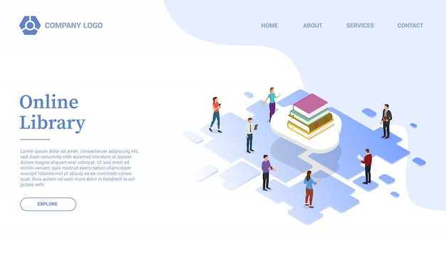Biblioteka internetowa lub edukacja w chmurze z szablonem strony z książkami lub lądowaniem strony głównej w stylu izometrycznym