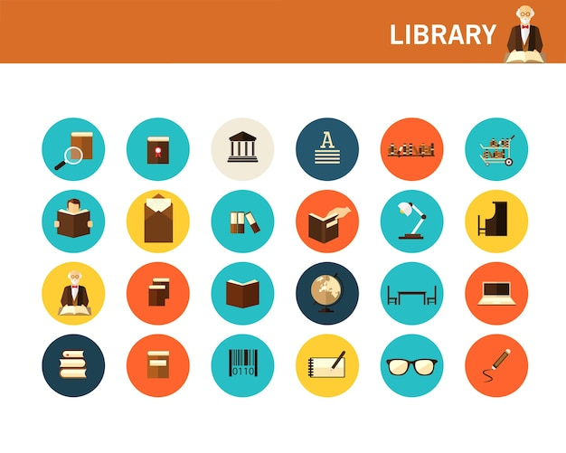 Biblioteka koncepcja płaskie ikony.