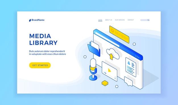 Biblioteka mediów. izometryczny szablon strony internetowej prezentujący usługę biblioteki multimediów online. ekran przeglądarki z ikonami podcastów, wideo, plików, przesyłania, tekstu i wiadomości. baner internetowy, szablon strony docelowej