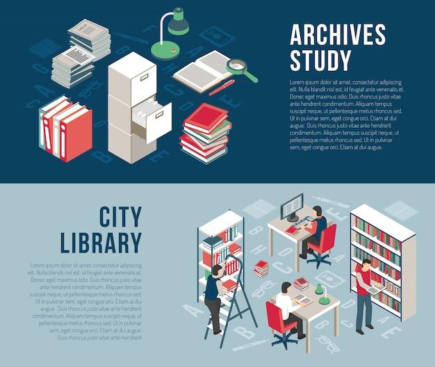 Biblioteka miejska archiwa 2 izometryczne banery