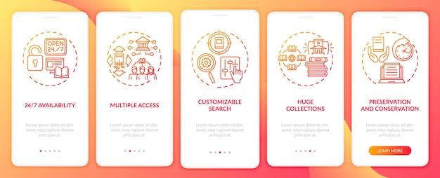 Biblioteka online korzysta z ekranów strony aplikacji mobilnej z koncepcjami. konfigurowalny przewodnik wyszukiwania 5 kroków. szablon ui z kolorowymi ilustracjami rgb