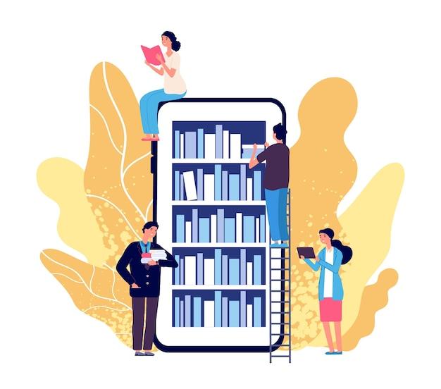 Biblioteka online. ludzie czytający książki. smartfon z aplikacją do czytania. księgarnia internetowa, biblioteka i edukacja płaska koncepcja. ilustracja książka edukacyjna, cyfrowy regał dla studentów