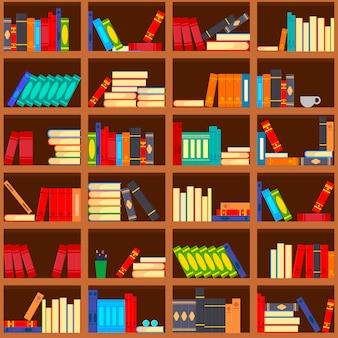Biblioteka półka z książkami bez szwu