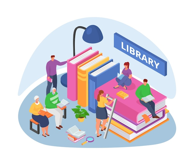 Biblioteka z książkami, izometryczny ilustracji wektorowych. mężczyzna kobieta postać czytać wiedzę na uniwersytet, studiować edukację szkolną. osoba uczeń