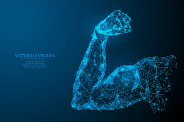 Biceps silnego ramienia. zdrowe ciało. pojęcie sportu, biznesu, start-upu, właściwego odżywiania. innowacyjna technologia. 3d model szkieletowy low poly ilustracja.