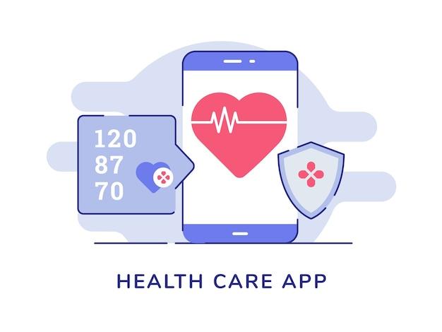 Bicie serca koncepcji aplikacji opieki zdrowotnej na wyświetlaczu smartppone