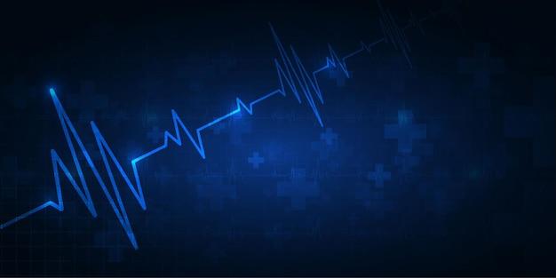 Bicie serca opieki zdrowotnej i nauki ikona innowacji medycznych koncepcja tło wektor wzór.