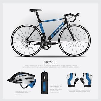 Bicykl z akcesoryjną wektorową ilustracją