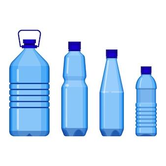 Bidony stojące w szeregu od dużych do małych, z uchwytem lub bez. wektor plakat plastikowych pojemników na płyn na białym tle
