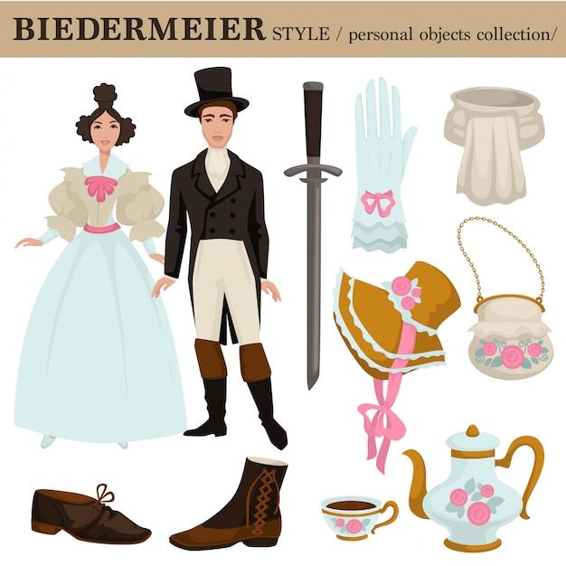 Biedermeier stary niemiecki austriacki styl wektor ubrania