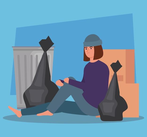 Biedna kobieta siedząca