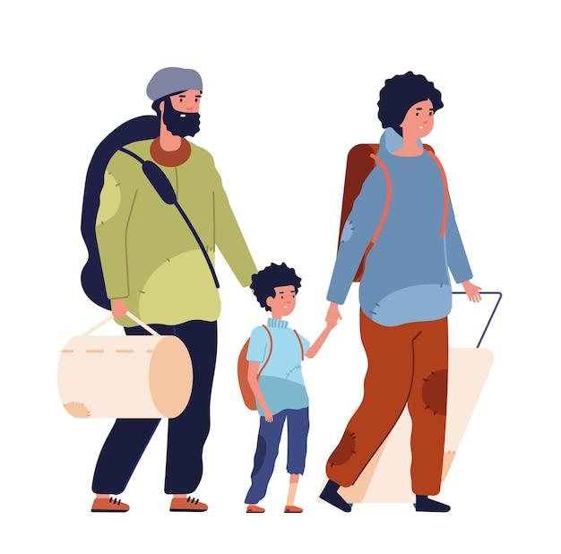 Biedna rodzina. włóczęga, bezdomna uchodźczyni kobieta dzieciak mężczyzna. zdesperowani ludzie z depresją potrzebują pomocy, odosobnieni bezrobotni dorośli wektor znaków. ilustracja rodziny biednych bezdomnych, kobiety i mężczyzny uchodźcy
