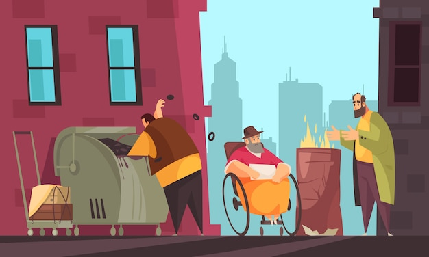 Biedni ludzie, którzy przeżywają zimę na ulicach miasta, szukając pożywienia w koszu na śmieci, płaski sztandar