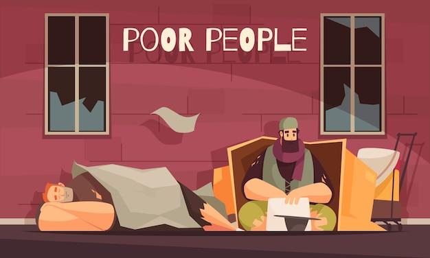 Biedni ludzie mieszkający na zewnątrz w kartonowym pudełku błagają o pieniądze płaski sztandar z bezdomnymi mężczyznami