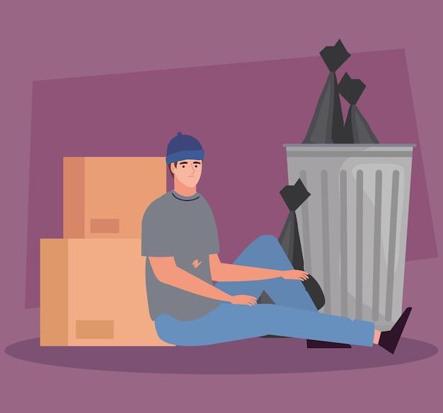 Biedny chłopak w śmieciach
