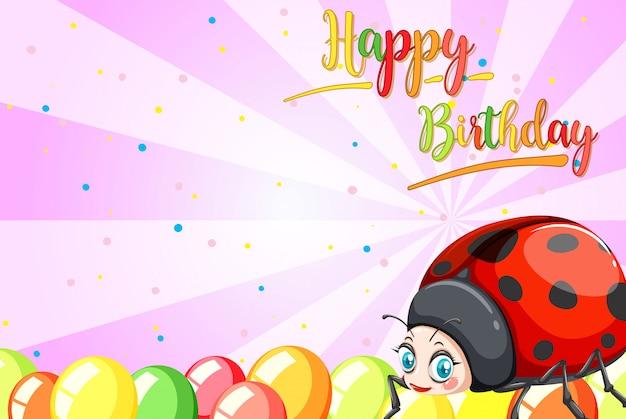Biedronka na szablonie urodzinowym