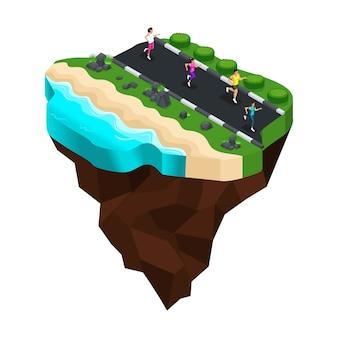 Biegać sportowców na brzegu rzeki, jeziora, dziewczyny uprawiają sport, zdrowy styl życia, krajobraz lasu, góry. duża piękna wyspa