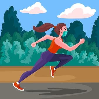 Biegacz na zewnątrz z maskami medycznymi