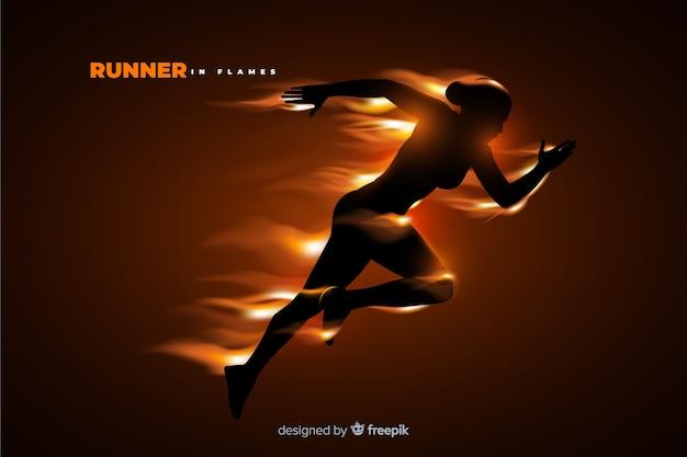 Biegacz sylwetka w płomieniach płaska konstrukcja
