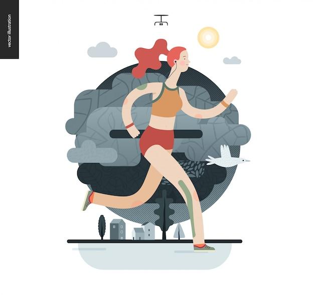 Biegacze - dziewczyna ćwiczenia