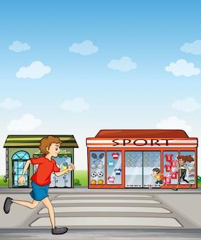 Biegacze i punkt sportowy