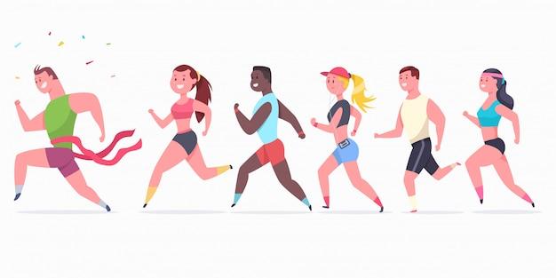 Biegacze kobiet i mężczyzn. postać sportowców na maratonie.