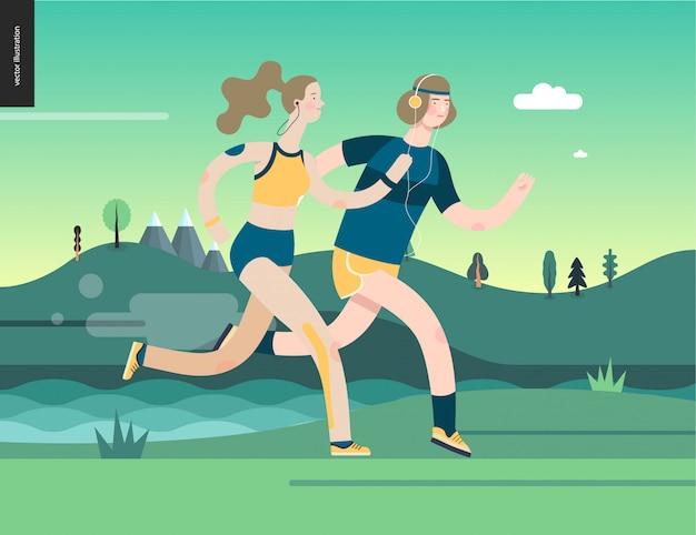 Biegacze - mężczyzna i kobieta ćwiczący
