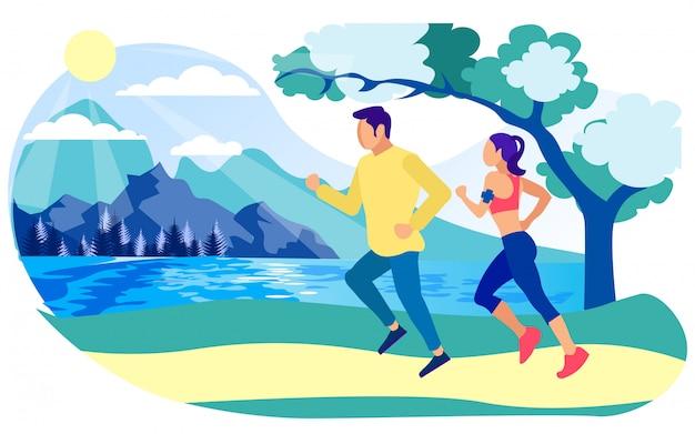 Biegacze mężczyzny i kobiety, dzień rozpoczynający od fitnessu