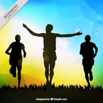 Biegacze silhouettes tła