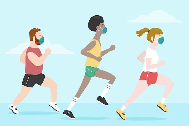 Biegacze w maskach medycznych