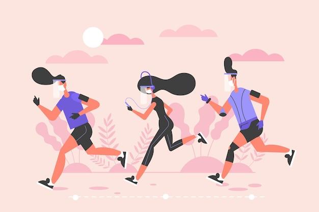 Biegacze z maską medyczną