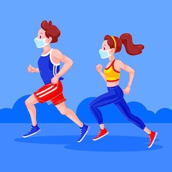Biegacze z maskami medycznymi w parku