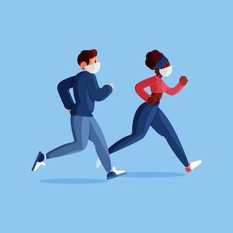 Biegacze z maskami medycznymi