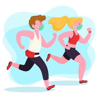 Biegacze z medycznymi maskami ilustracyjnymi