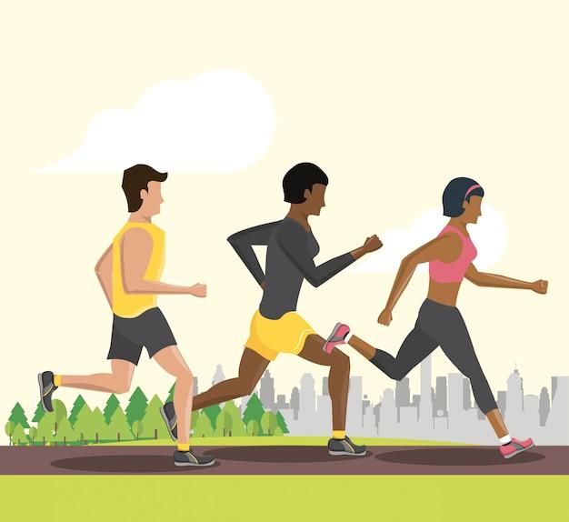 Biegający ludzie fitness