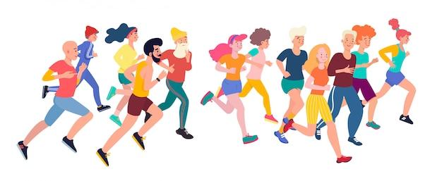 Bieganie ludzi. grupa maratońska biegnących mężczyzn i kobiet ubranych w sportowe stroje. płaskie postaci z kreskówek na białym tle.