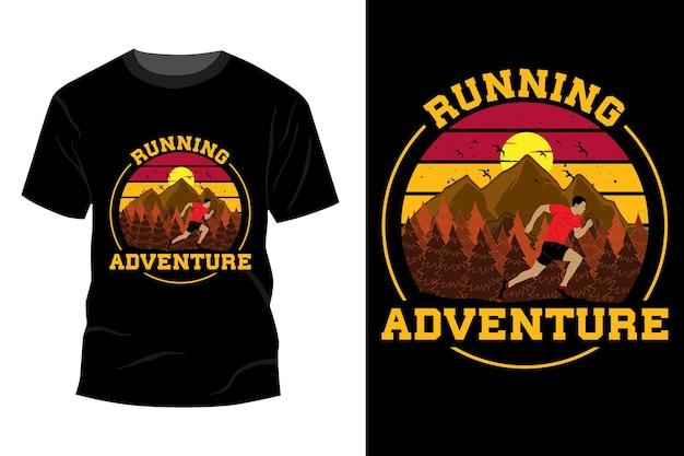 Bieganie przygoda t-shirt makieta projekt vintage retro