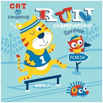 Bieganie sport zabawna kreskówka zwierząt
