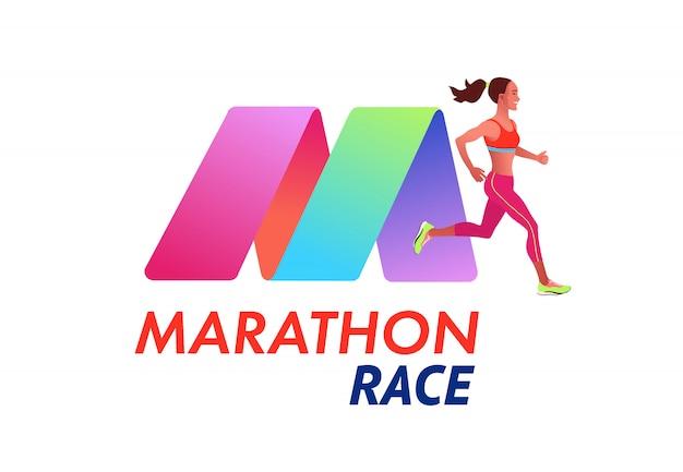 Biegnąca kobieta szablon typu logo maraton. zawody sportowe, trening lub ćwiczenia, lekkoatletyka.