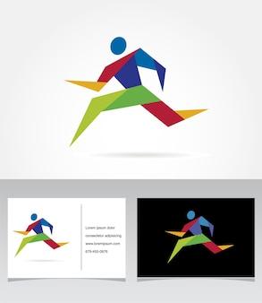 Biegnący maraton ludzie biegają kolorową ikoną