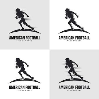 Biegnący sylwetka logo gracza futbolu amerykańskiego logo futbolu amerykańskiego
