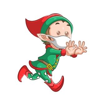 Biegnie ilustracja małego elfa chłopca w czerwonych butach