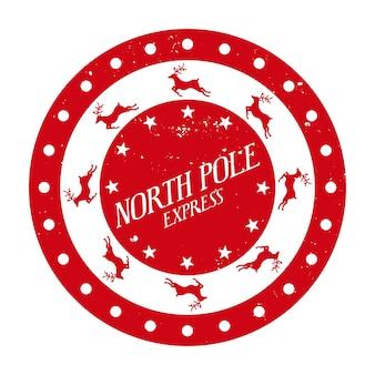 Biegun północny ekspresowy okrągły szablon stempla na prezenty i listy świąteczny projekt dekoracyjny