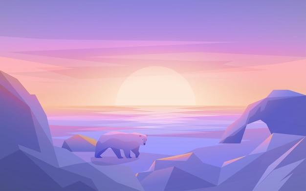Biegun północny z górą lodową i niedźwiedziem polarnym
